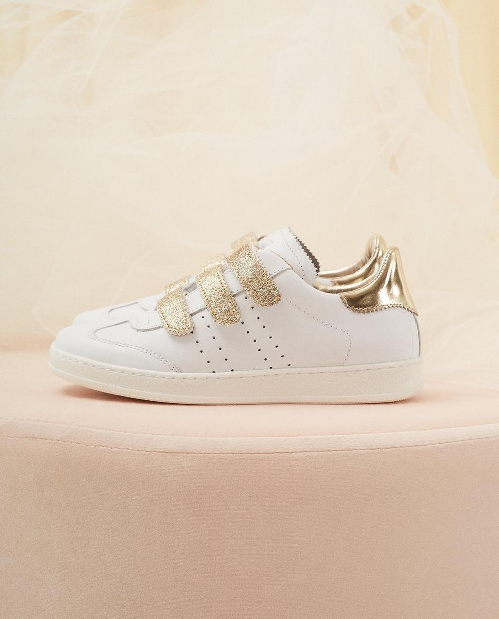 Weiße Sneaker, Größe 30-37 - mit Goldglitzer - Milla Star